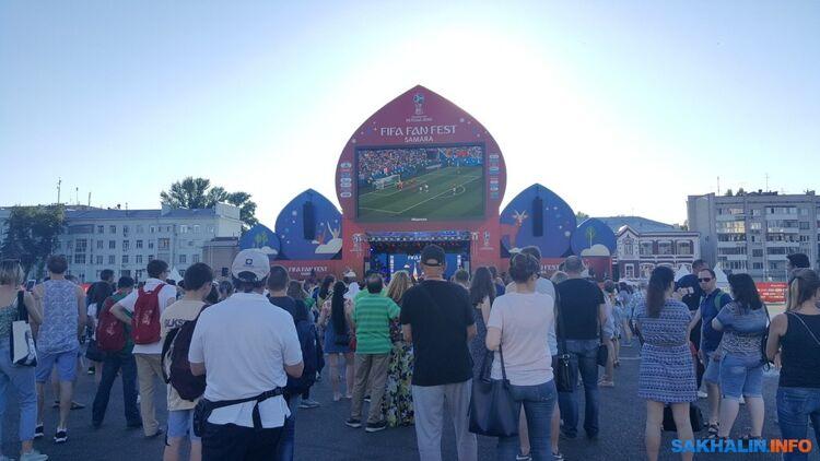 Фан-зона вСамаре, матч Корея— Мексика