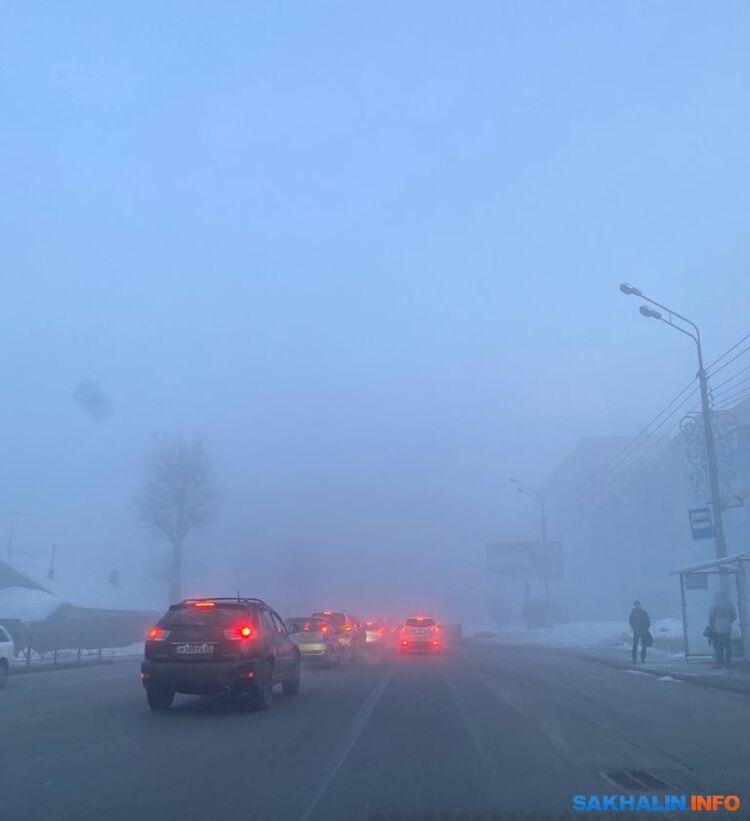 Туман вЮжно-Сахалинске, утро 13 февраля
